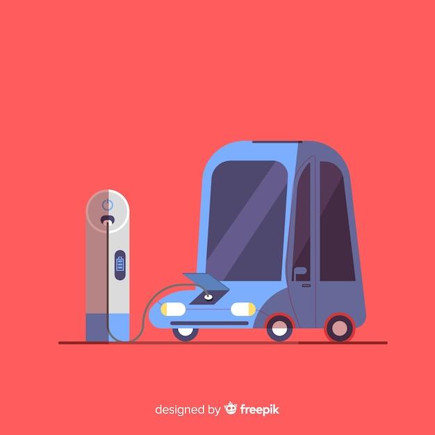 ヴィンテージ電気自動車 無料ベクター