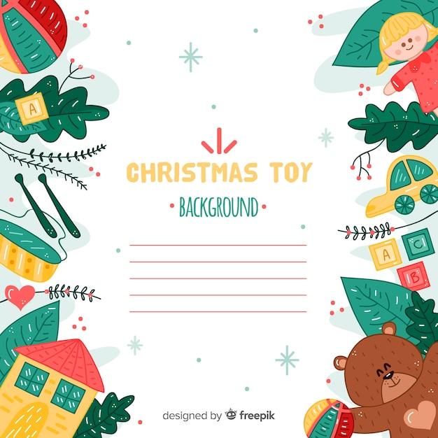 クリスマスおもちゃの背景線 無料ベクター
