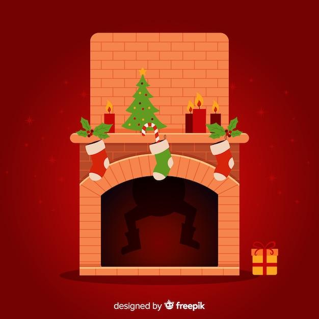 暖炉、クリスマス、背景、影 無料ベクター