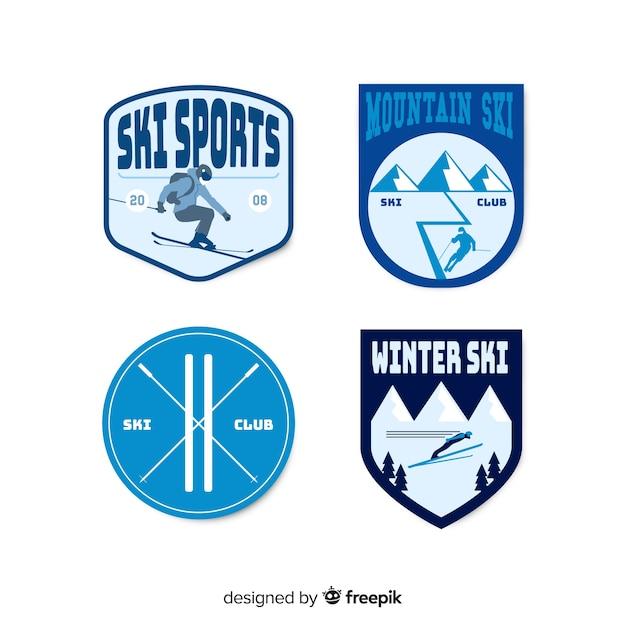 ヴィンテージスキー&スノーバッジコレクション 無料ベクター