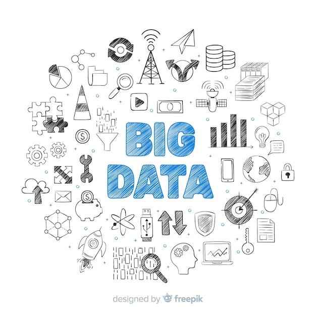 手描きの大きなデータの背景 無料ベクター