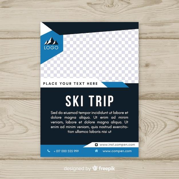 Шаблон флаера для поездки на лыжах Бесплатные векторы