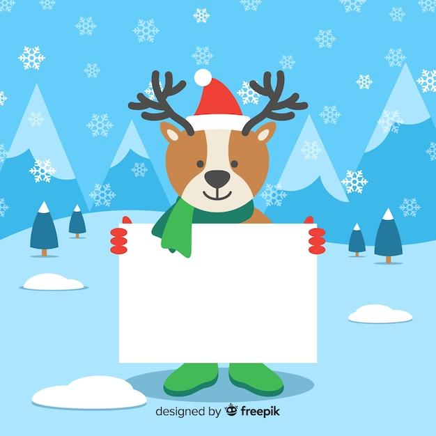 白い空のカードを保持するフラットクリスマスの文字 無料ベクター