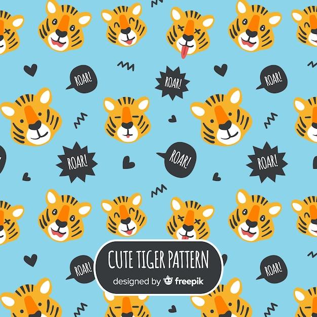 タイガーはパターンに直面する 無料ベクター