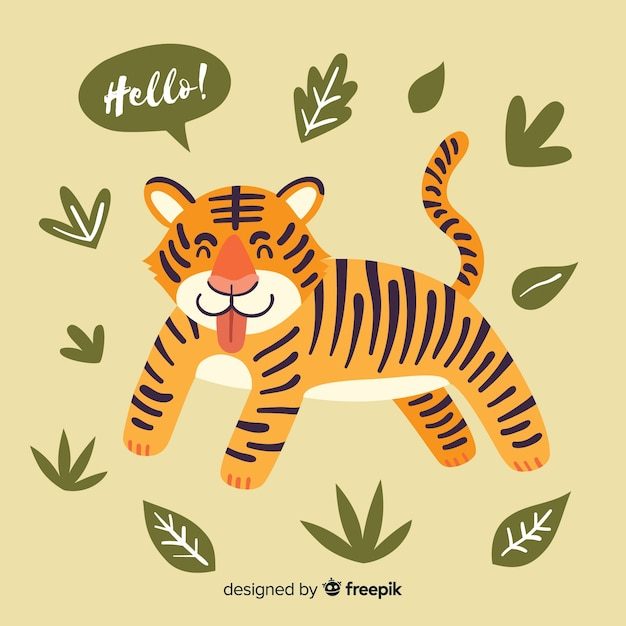 タイガー、葉、背景 無料ベクター