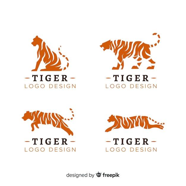 Комплект логотипа синего тигра Бесплатные векторы