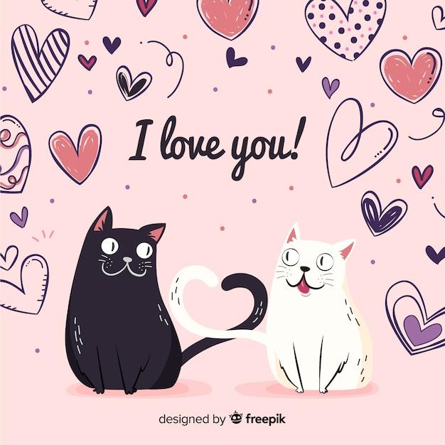 猫のカップルのバレンタインデーの背景 無料ベクター