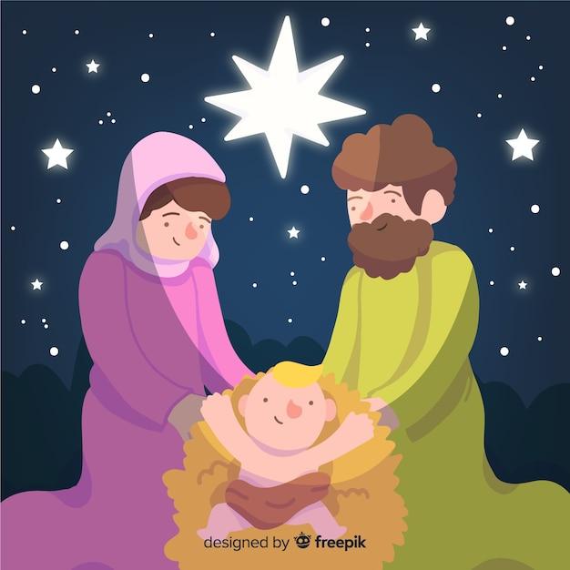 手描きのクリスマスの野生のシーン 無料ベクター