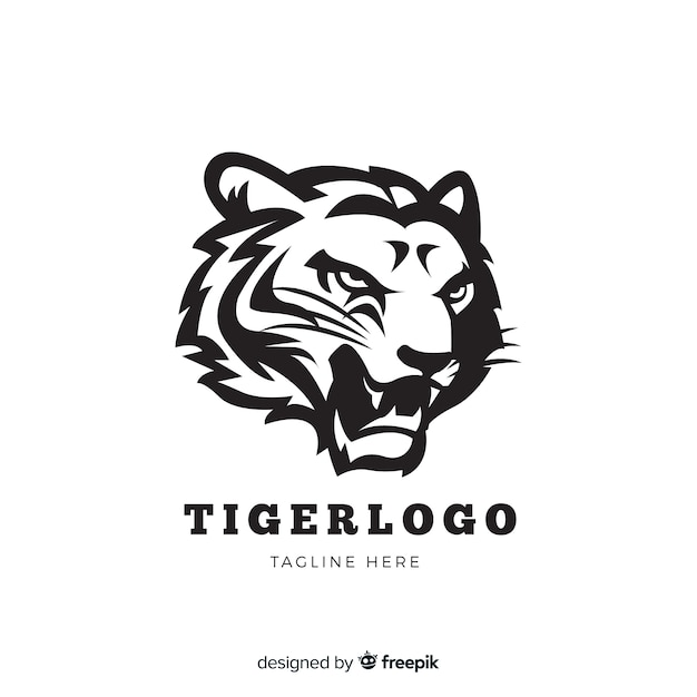 轟く虎のロゴ 無料ベクター