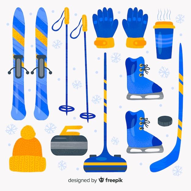 水彩冬のスポーツ用品 無料ベクター