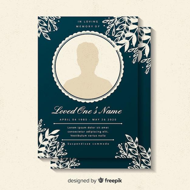 葬儀カードのテンプレート 無料ベクター