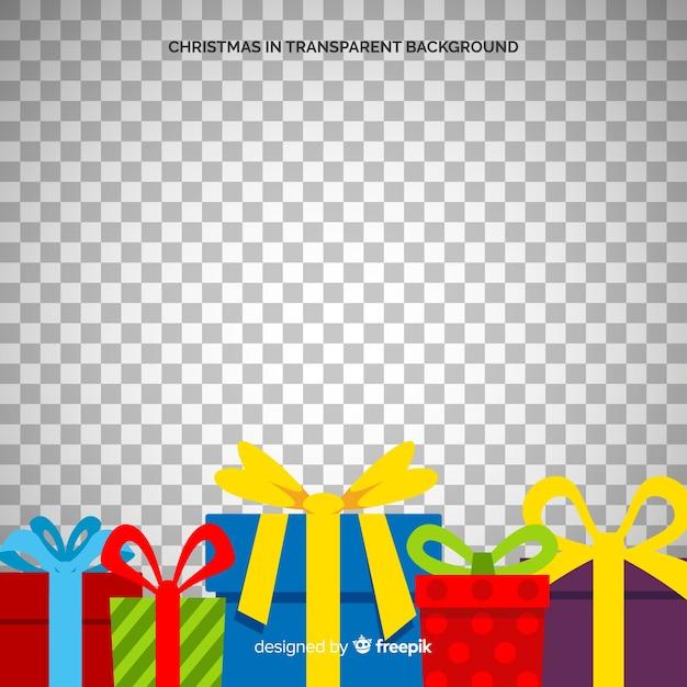 Группа рождественские подарки прозрачный фон Бесплатные векторы