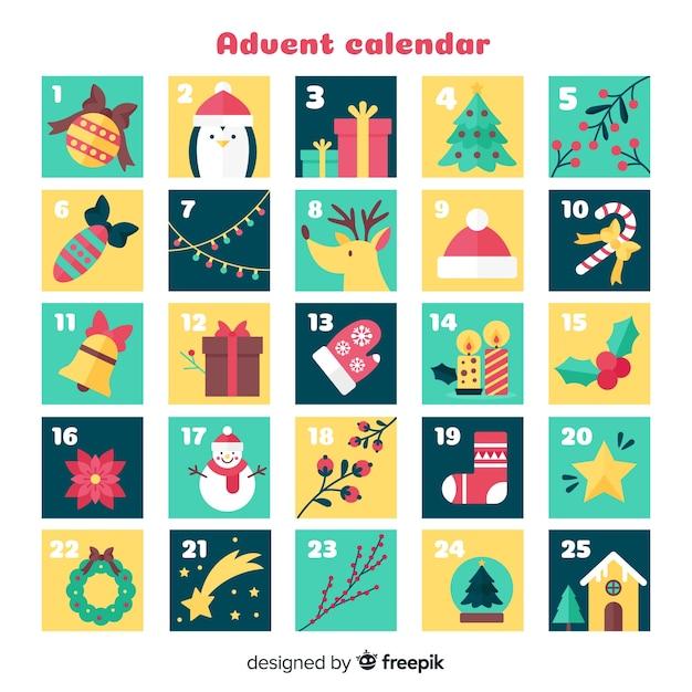 クリスマスの要素アドベントカレンダー 無料ベクター