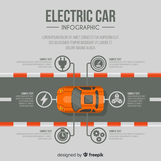トップビューの電気自動車のインフォグラフィック 無料ベクター