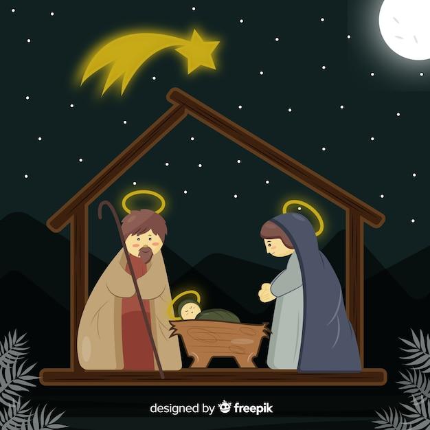 フラットクリスマスの野生のシーン 無料ベクター