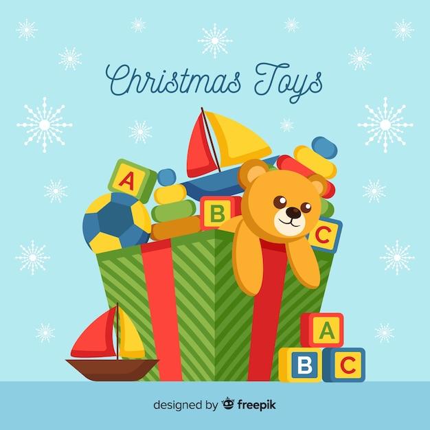 クリスマスのおもちゃ箱の背景 無料ベクター