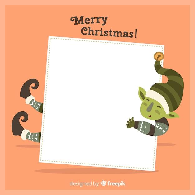 白い空のカードを持って手描きのクリスマスの文字 無料ベクター