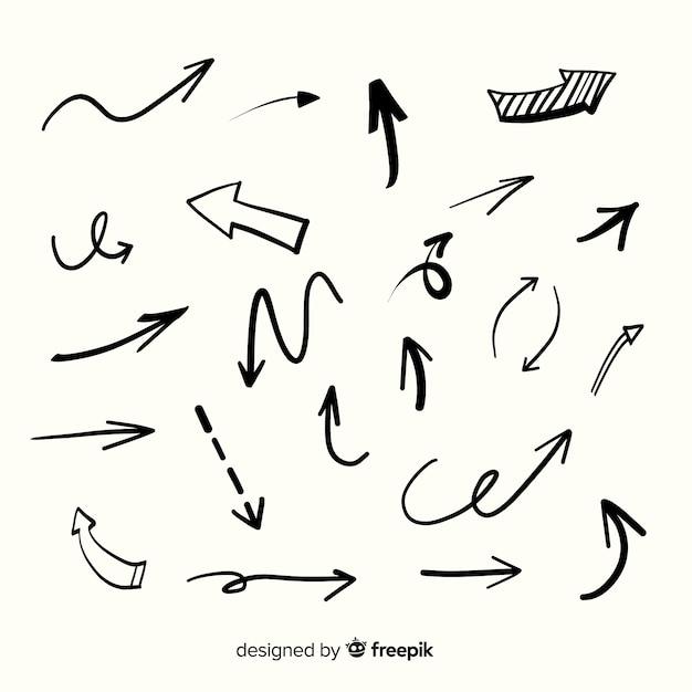 Коллекция рисованной стрелки Бесплатные векторы