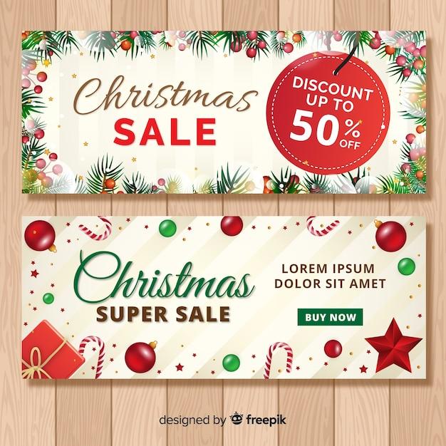 クリスマスの要素の販売のバナー 無料ベクター
