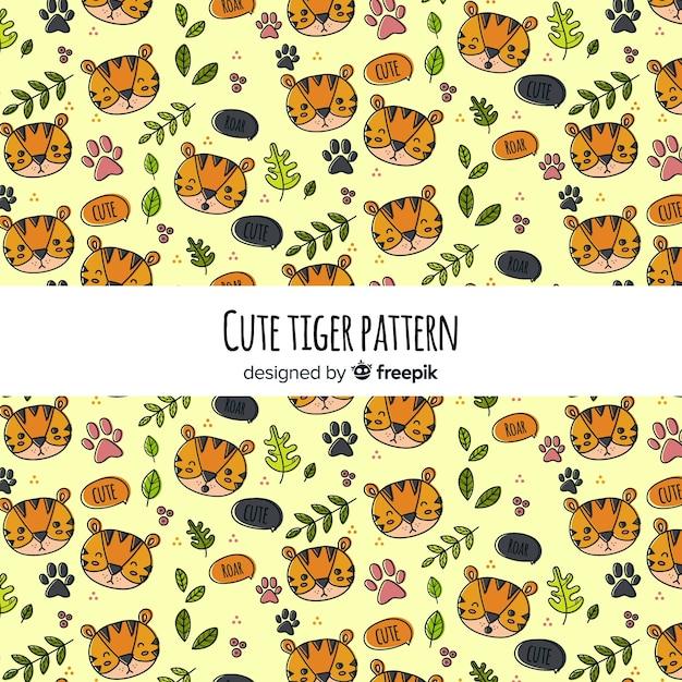 タイガー、葉、パターン 無料ベクター
