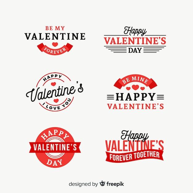バレンタインデーフラットバッジコレクション 無料ベクター