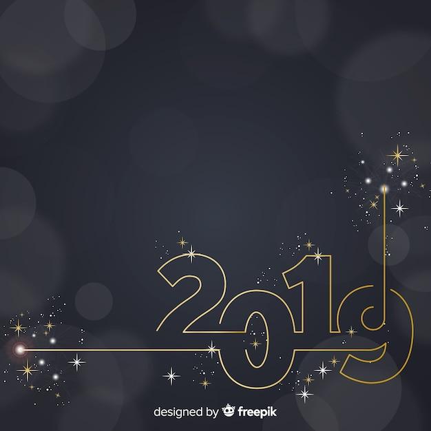 輝く数字の新年の背景 無料ベクター