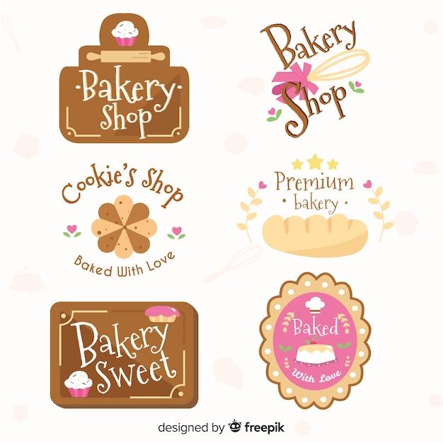 Коллекция логотипов пекарни Бесплатные векторы
