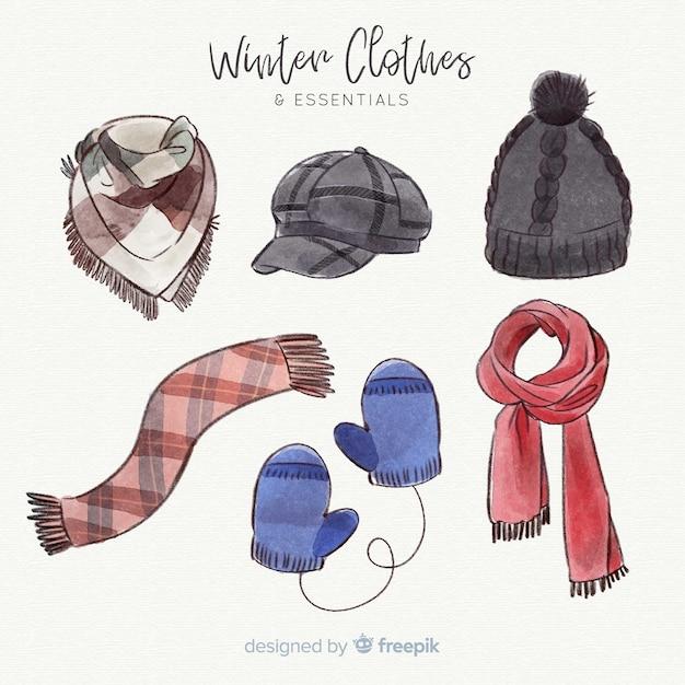 水彩冬の服と本質 無料ベクター