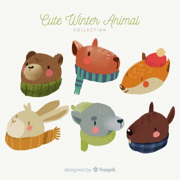 スカーフパック付き冬の動物 無料ベクター
