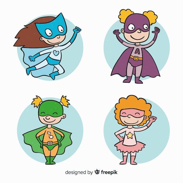 Женская коллекция супергероев Бесплатные векторы