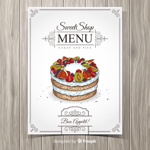 リアルなケーキレストランメニューテンプレート 無料ベクター