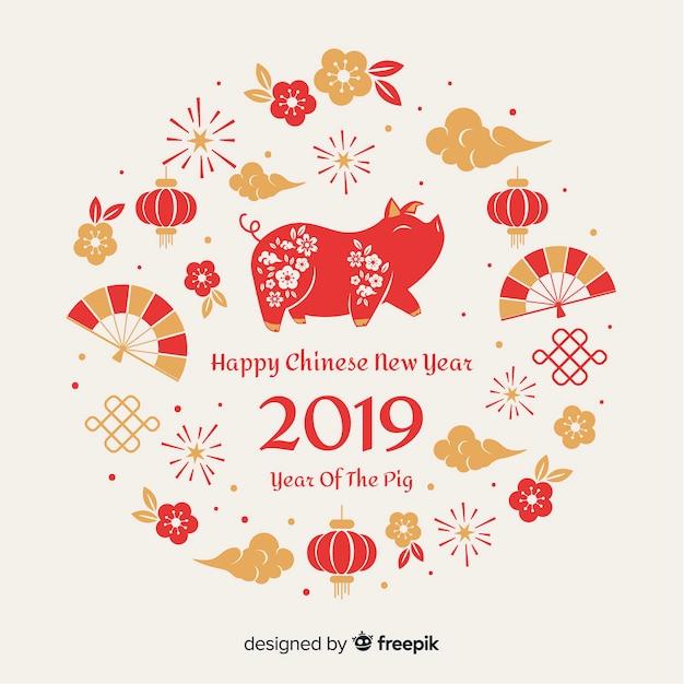 Фон из китайских элементов нового года Бесплатные векторы