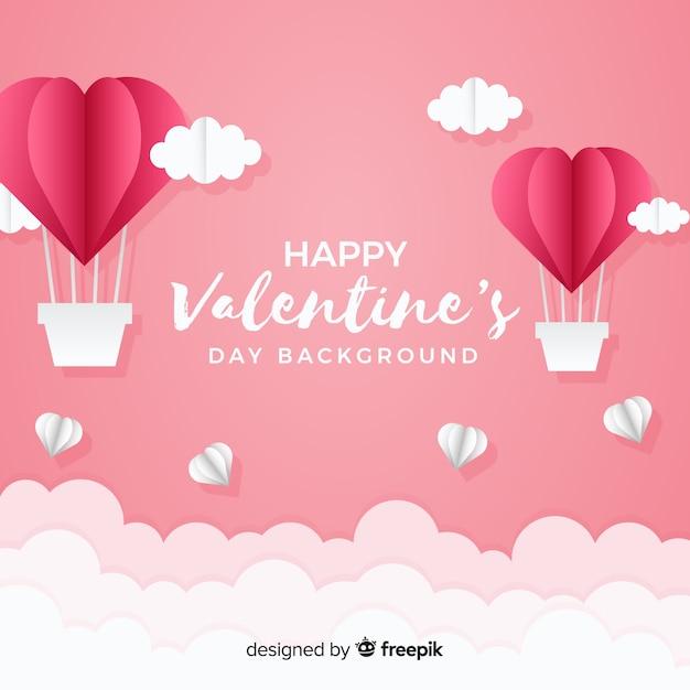 熱気球のバレンタインデーの背景と呼ばれる 無料ベクター