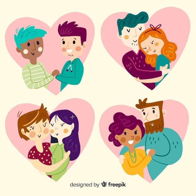 バレンタインデーカップルの抱擁のコレクション 無料ベクター