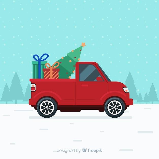 ツリー配信トラッククリスマスの背景 無料ベクター