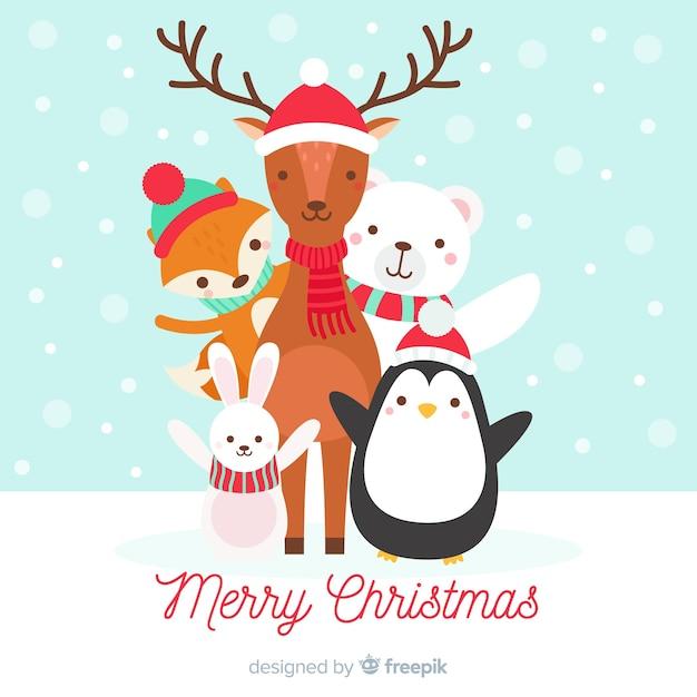 フラットな動物のクリスマスの背景 無料ベクター