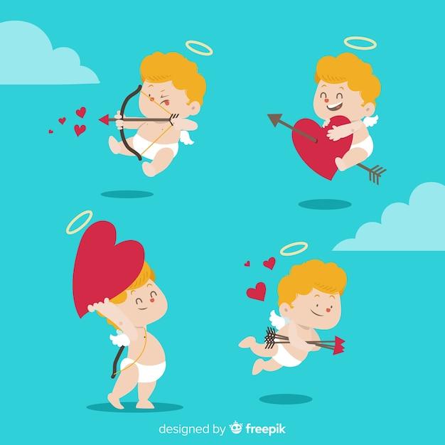 手描きのバレンタインデーの天使パック 無料ベクター