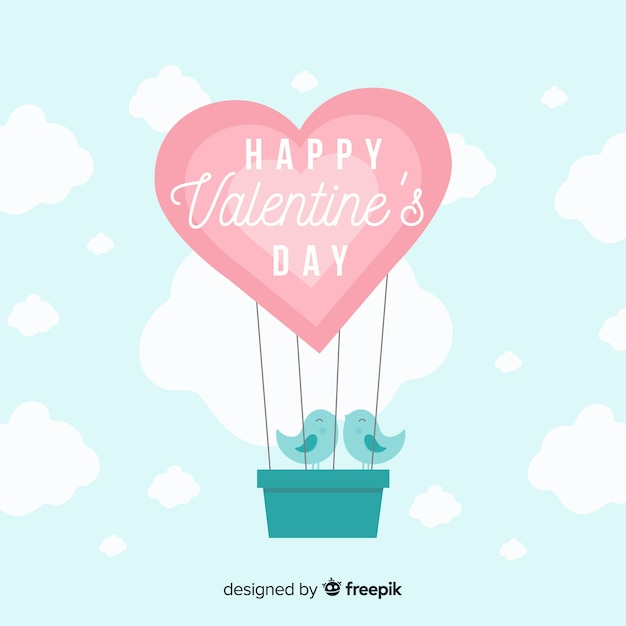 熱気球のバレンタインデーの背景 無料ベクター