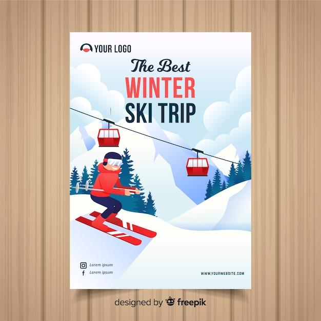 スキー旅行のフライヤーテンプレート 無料ベクター