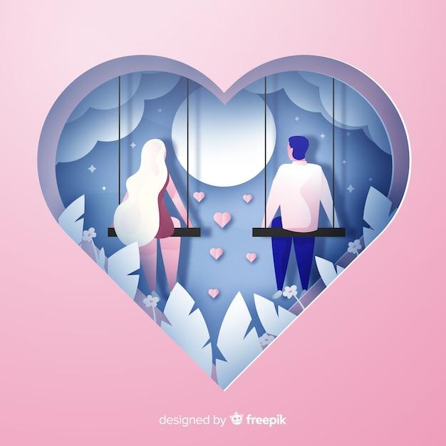 バレンタインデーはカップルの背景を切った 無料ベクター