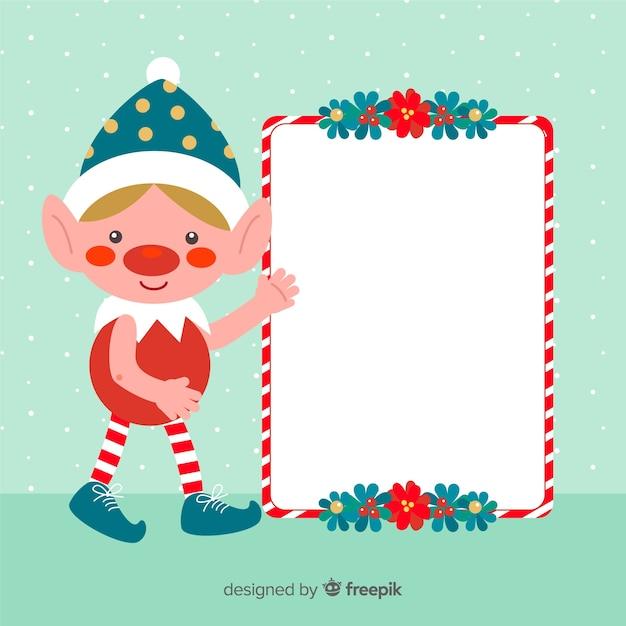 クリスマス背景エルフブランクサインを保持 無料ベクター
