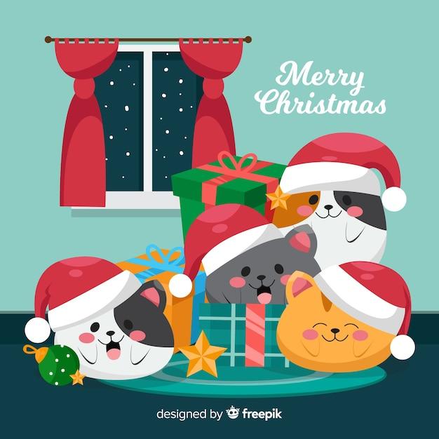 かわいいクリスマス動物の背景 無料ベクター