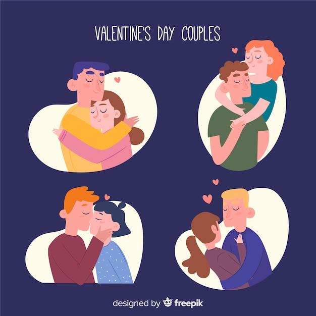 バレンタインデーカップルコレクション 無料ベクター