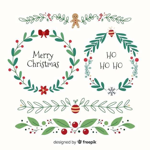 クリスマスフレームとボーダーコレクション 無料ベクター
