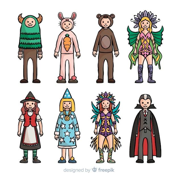 Коллекция рисованной карнавальных костюмов Бесплатные векторы