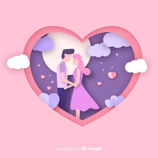 カップルのバレンタインデーの背景をカット 無料ベクター