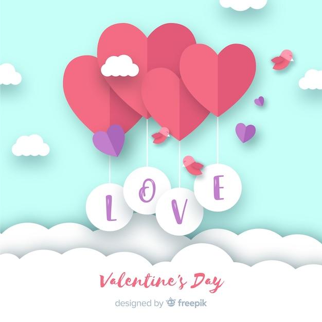 紙の風船のバレンタインデーの背景 無料ベクター