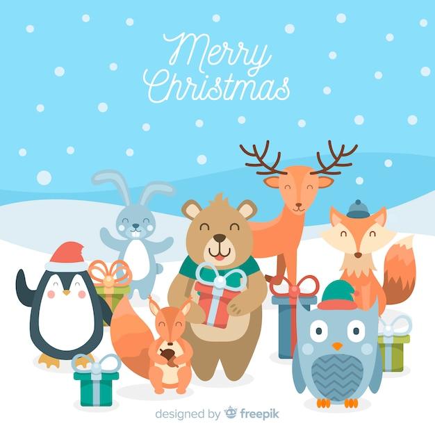 ギフトクリスマスの背景に動物を笑顔 無料ベクター