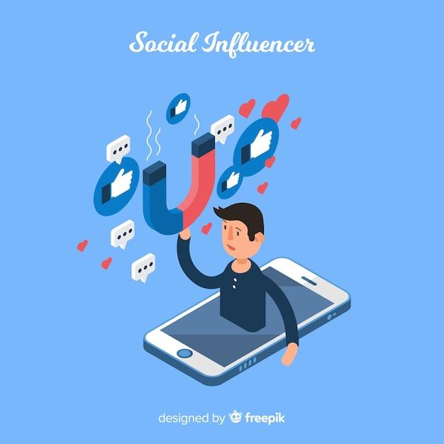 Социальный влияющий Бесплатные векторы