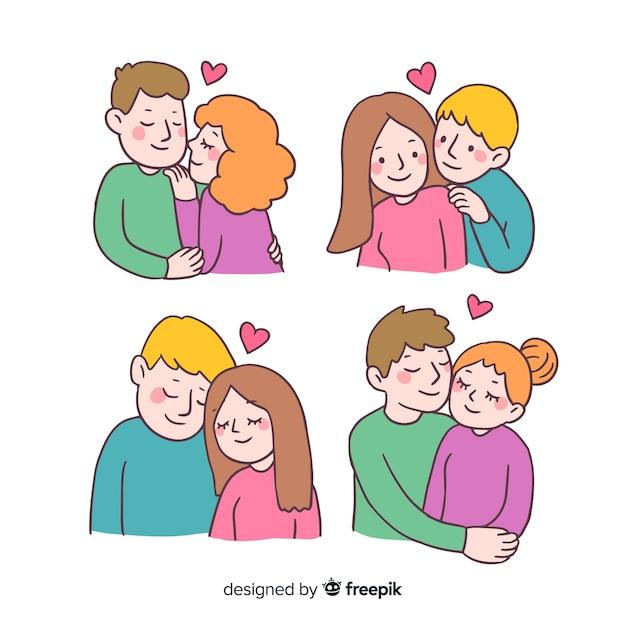 漫画のバレンタインデーカップルコレクション 無料ベクター